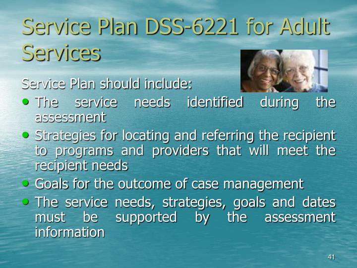 Service Plan DSS-6221 for Adult                    Services