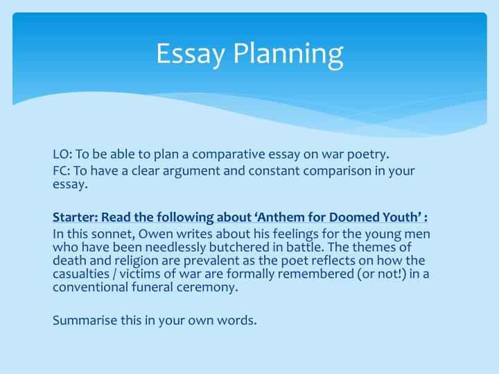 presentation planning essay How to prepare and deliver a presentation planning •purpose - why and what •audience –who and where planning •know your subject •develop a theme.