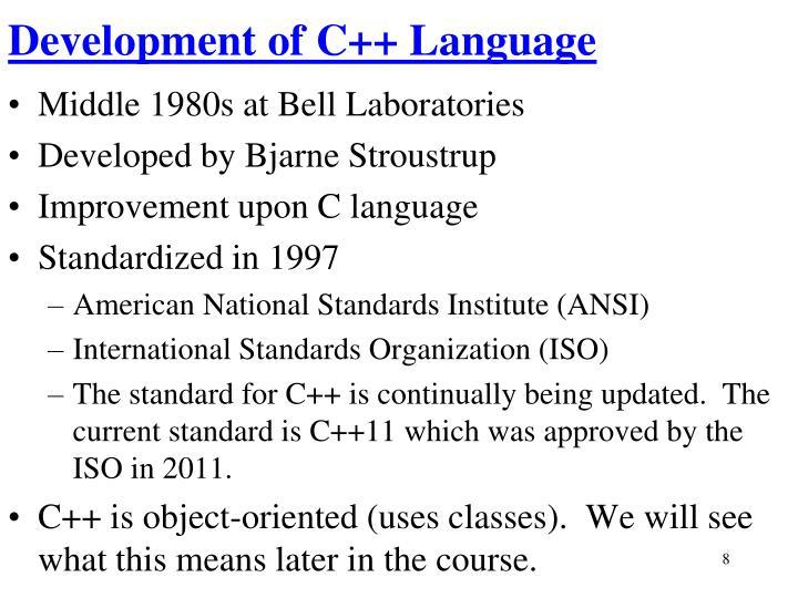 Development of C++ Language