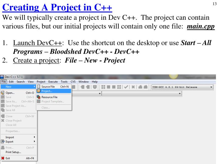 Creating A Project in C++