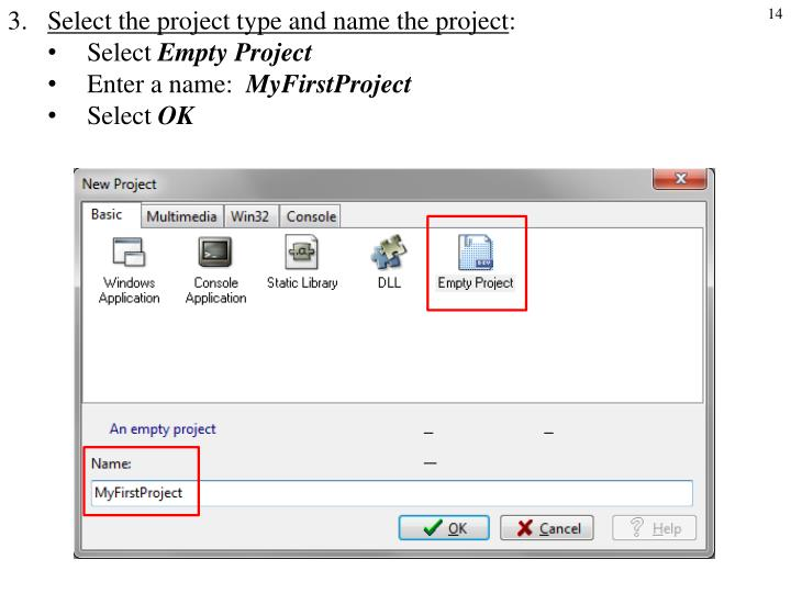 Select the project type and name the project