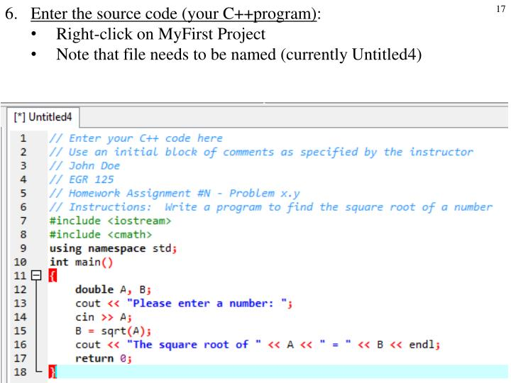 Enter the source code (your C++program)
