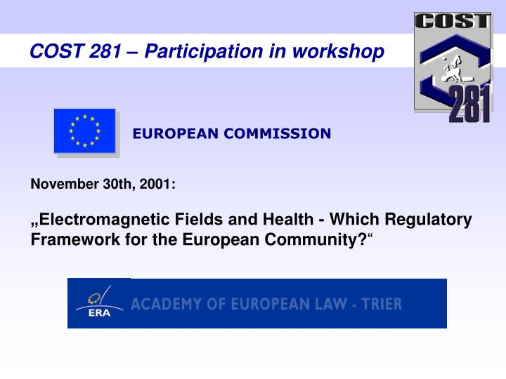 COST 281 – Participation in workshop