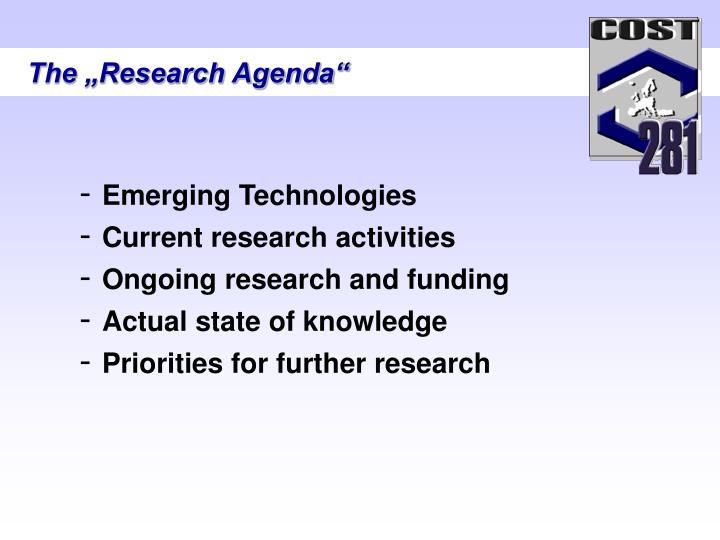 "The ""Research Agenda"""
