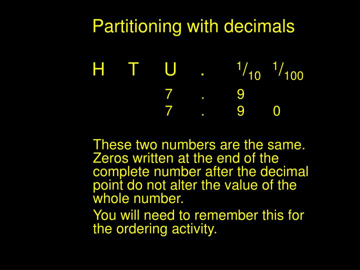 Partitioning with decimals