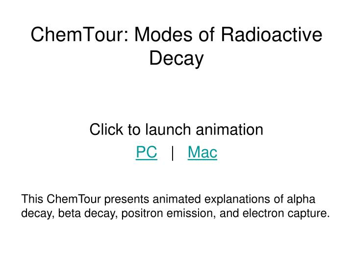 ChemTour: Modes of Radioactive Decay