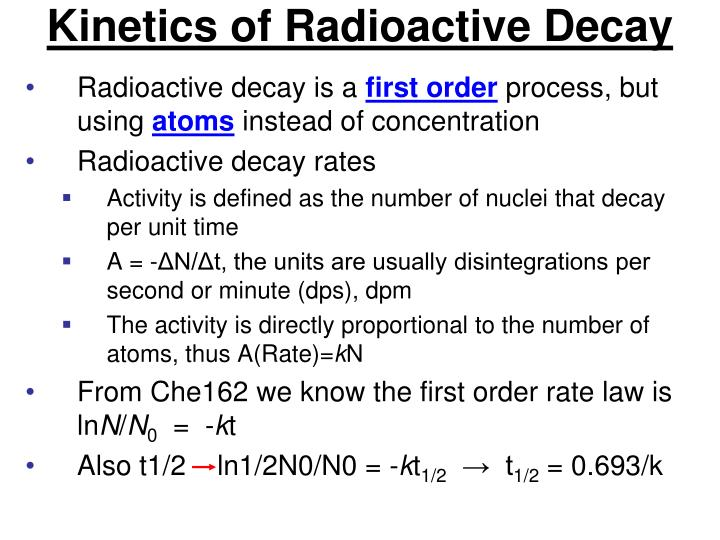 Kinetics of Radioactive Decay