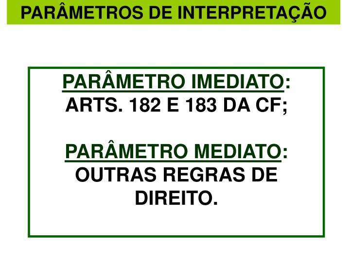 PARÂMETROS DE INTERPRETAÇÃO
