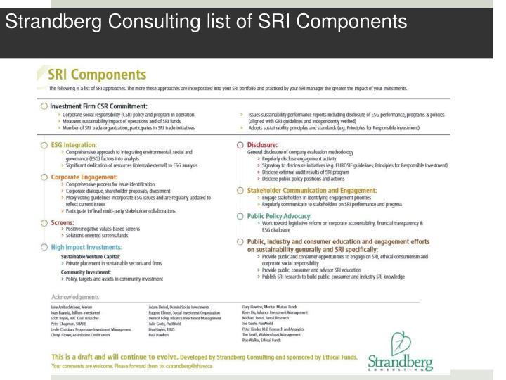 Strandberg Consulting list of SRI Components