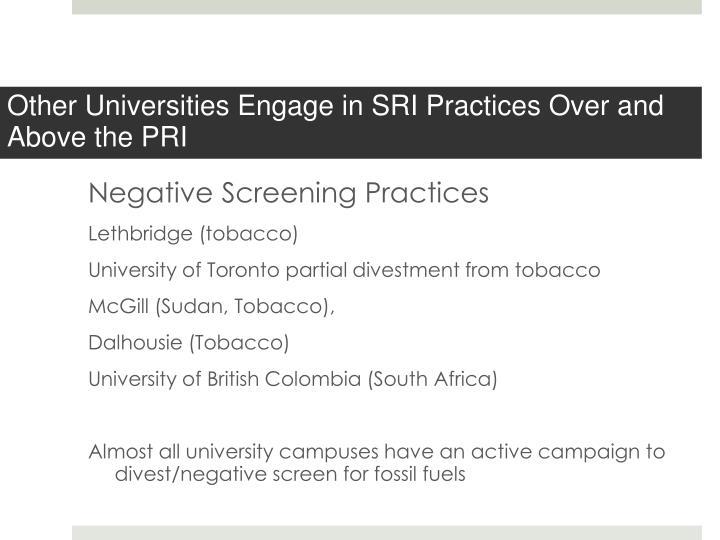 Negative Screening Practices