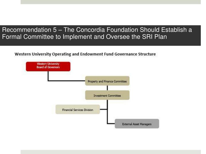 Recommendation 5 – The Concordia Foundation Should Establish a Formal Committee to Implement and Oversee the SRI Plan