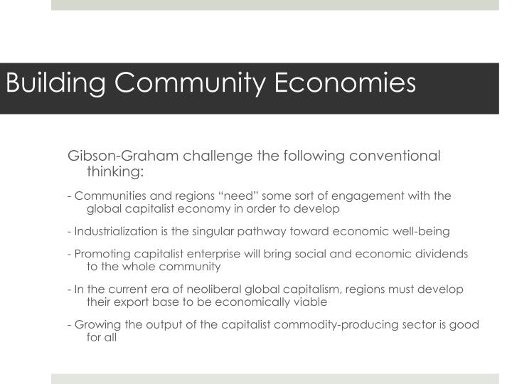 Gibson-Graham challenge the following conventional thinking: