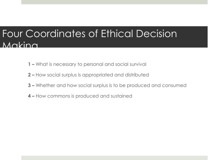 Four Coordinates of Ethical Decision Making
