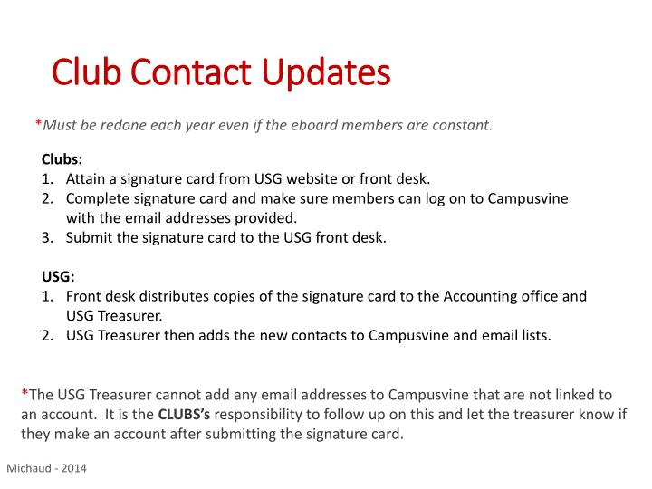 Club Contact Updates