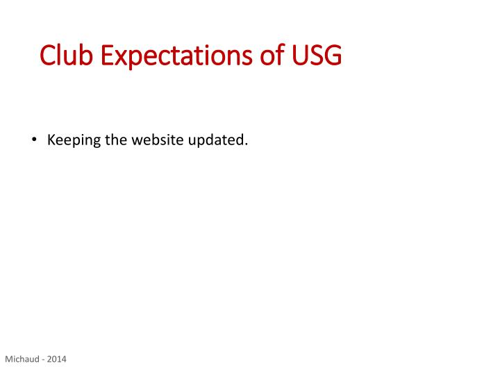 Club Expectations of USG