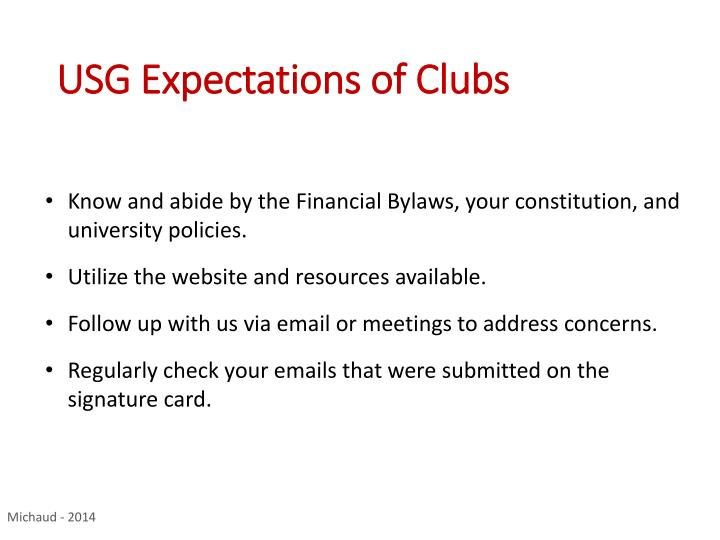 USG Expectations of Clubs