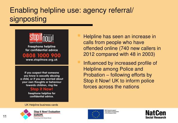 Enabling helpline use: agency referral/ signposting