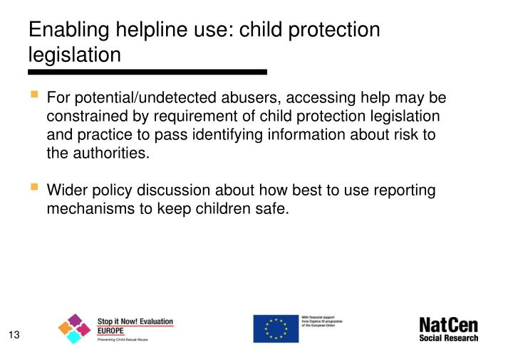 Enabling helpline use: child protection legislation