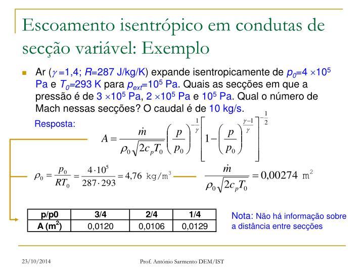 Escoamento isentrópico em condutas de secção variável: Exemplo
