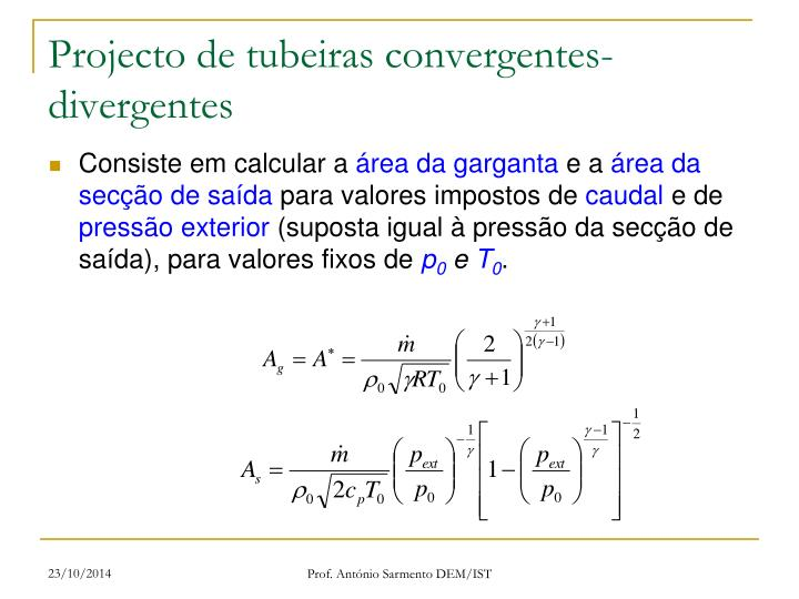 Projecto de tubeiras convergentes-divergentes