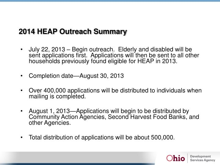 2014 HEAP Outreach Summary