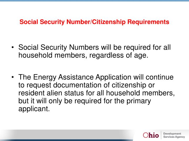 Social Security Number/Citizenship Requirements