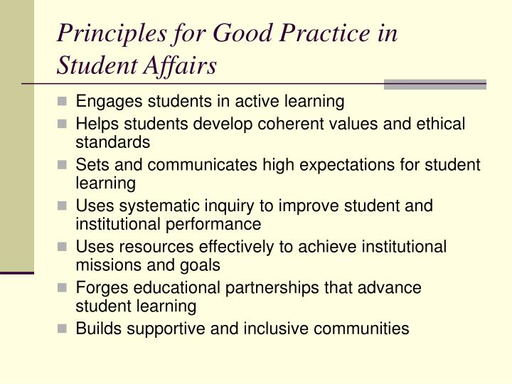 Principles for Good Practice in Student Affairs