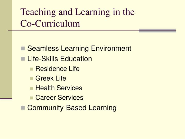 Teaching and Learning in the Co-Curriculum