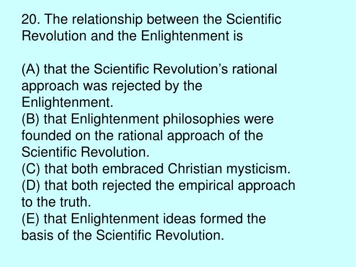 20. The relationship between the Scientific