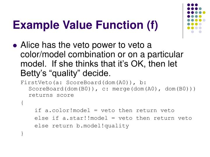 Example Value Function (f)