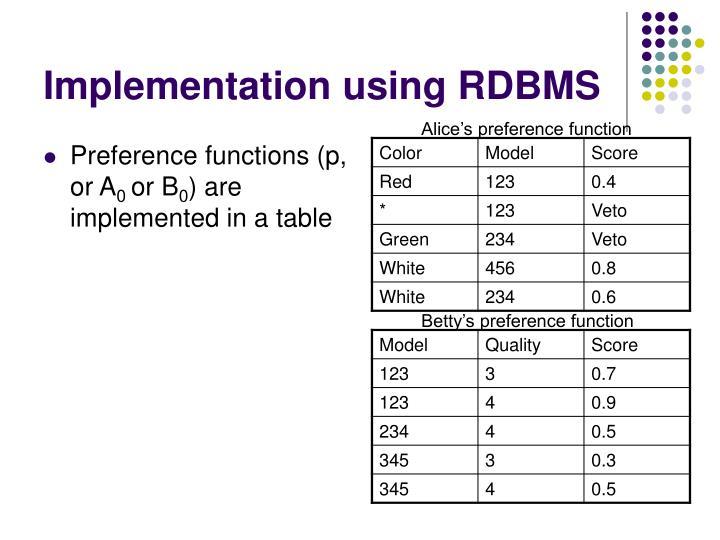 Implementation using RDBMS