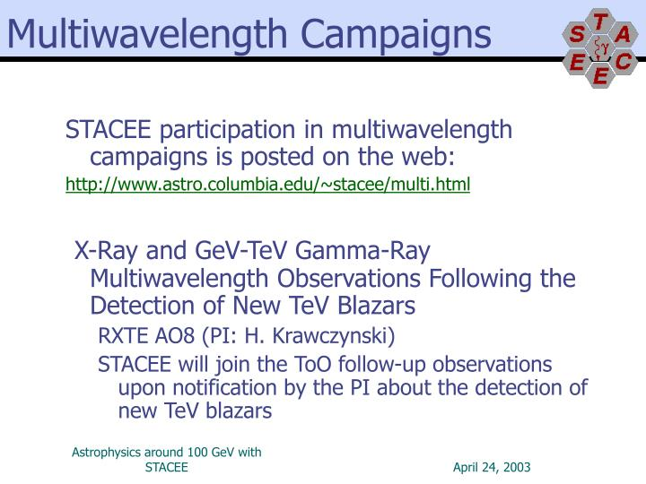 Multiwavelength Campaigns