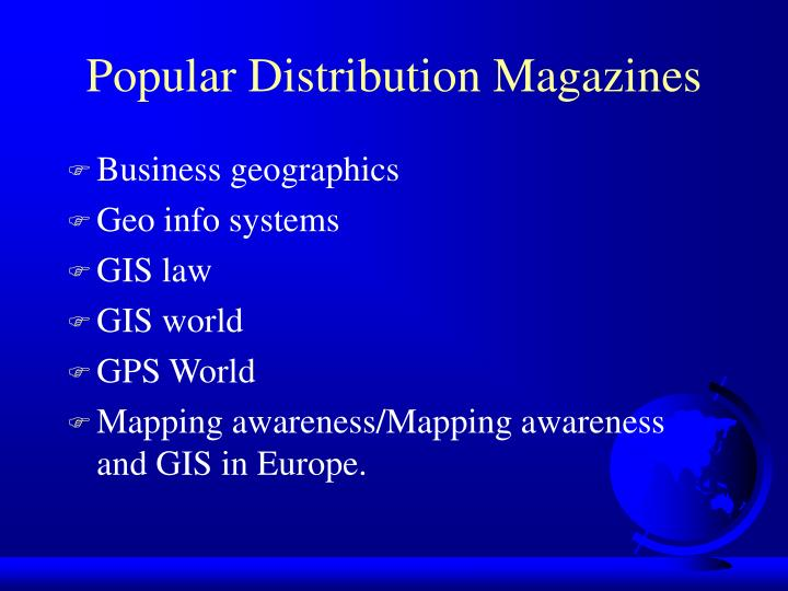 Popular Distribution Magazines