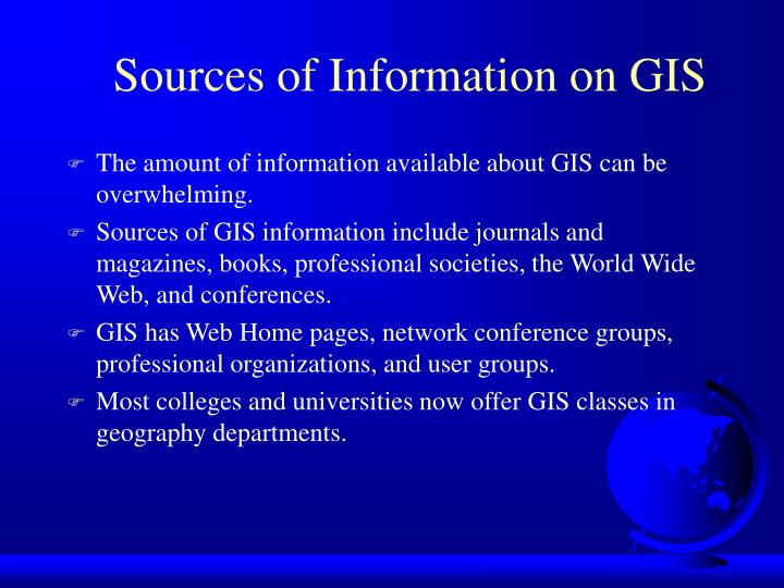 Sources of Information on GIS