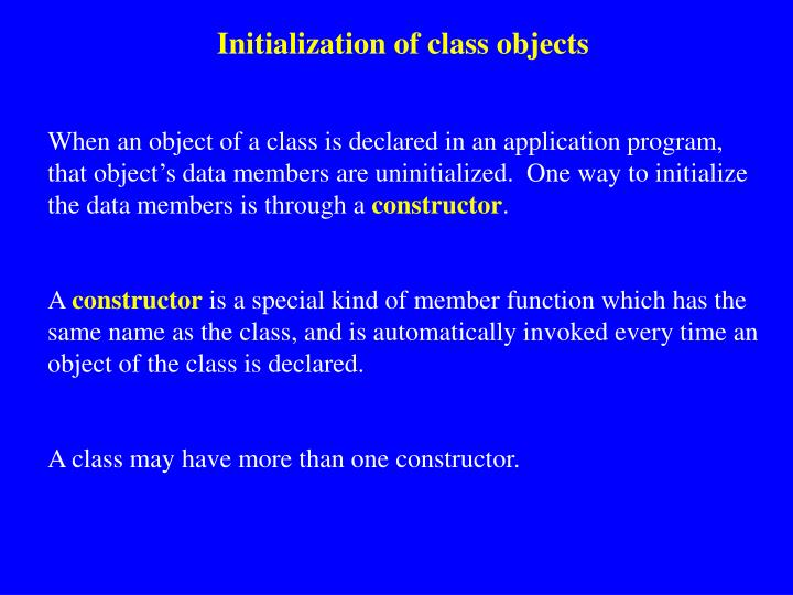 Initialization of class objects