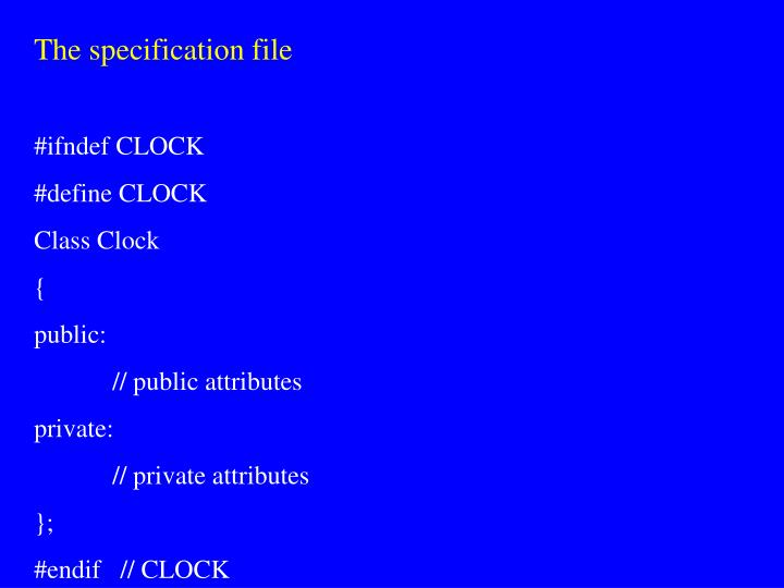 The specification file