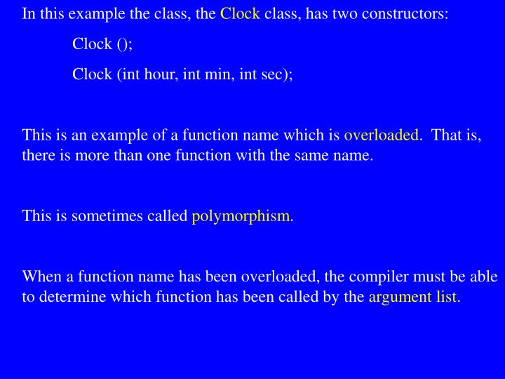 In this example the class, the