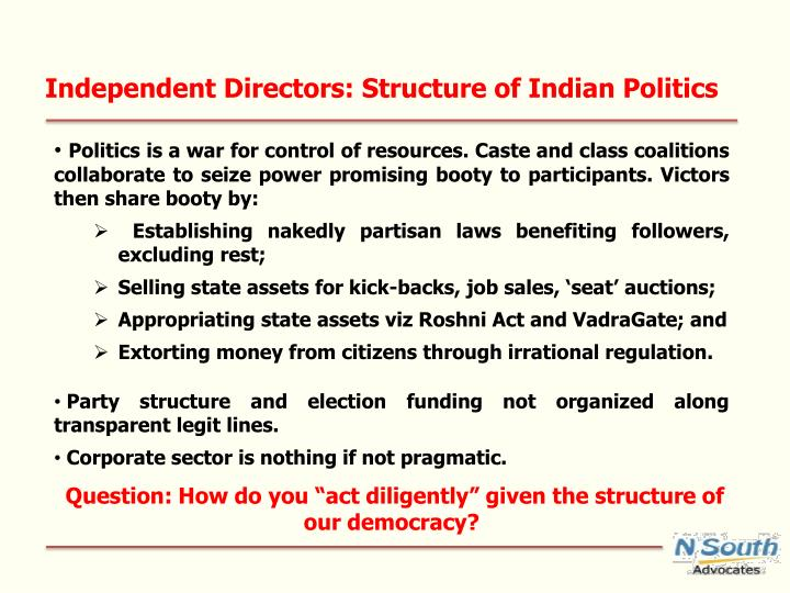 Independent Directors: Structure of Indian Politics