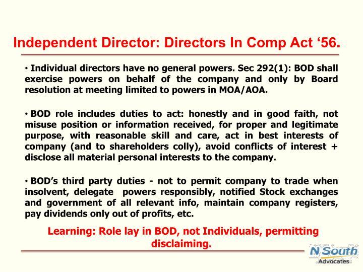 Independent Director: Directors In Comp Act '56