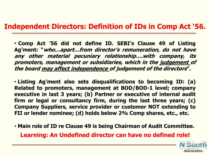 Independent Directors: Definition of IDs in Comp Act '56.
