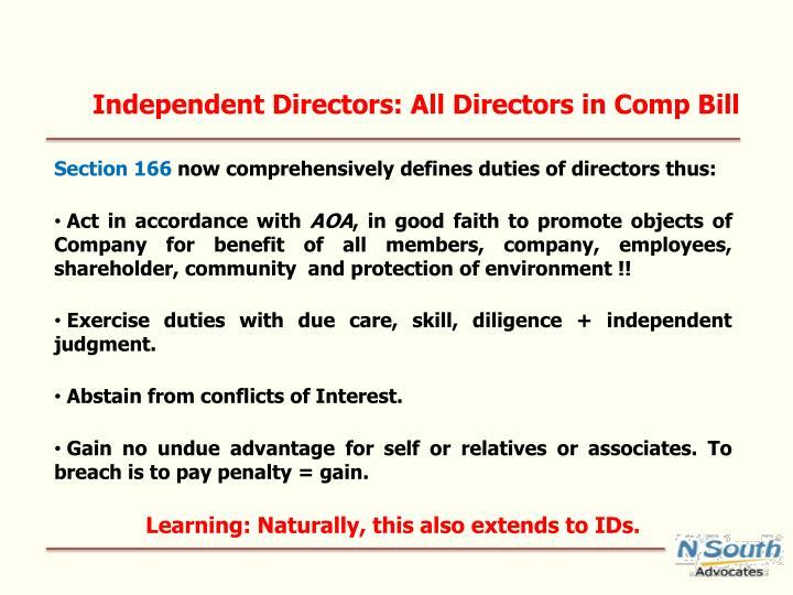 Independent Directors: All Directors in Comp Bill