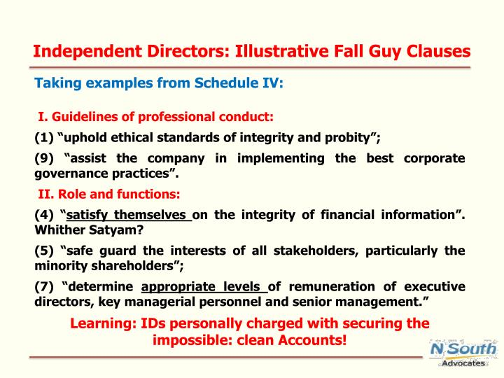 Independent Directors: Illustrative Fall Guy Clauses
