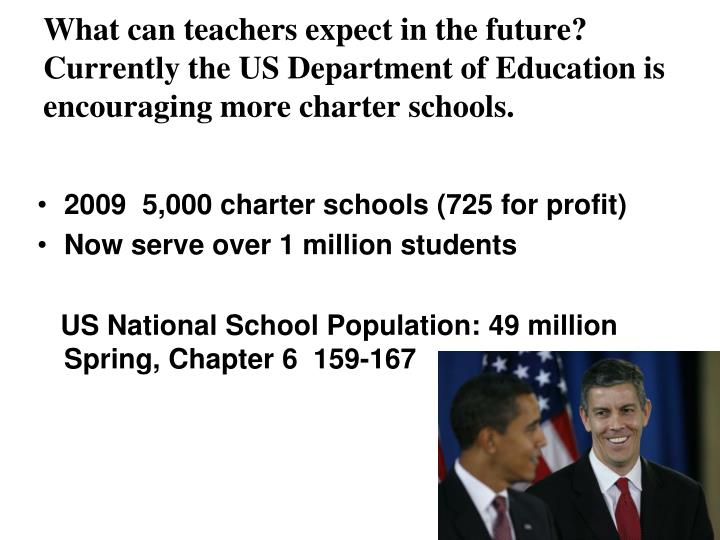 What can teachers expect in the future? Currently the US Department of Education is encouraging more charter schools.