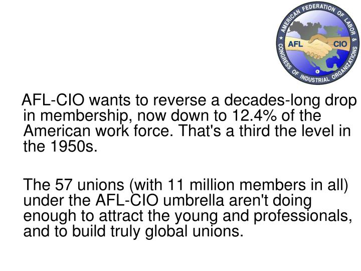 AFL-CIO wants to reverse a decades-long drop in membership, now down to 12.4% of the American work force. That's a third the level in the 1950s.