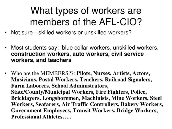 What types of workers are members of the AFL-CIO?