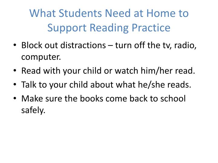 What Students Need at Home to Support Reading Practice