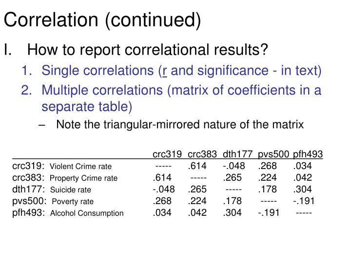 Correlation (continued)