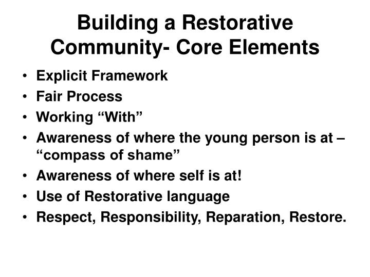 Building a Restorative Community- Core Elements