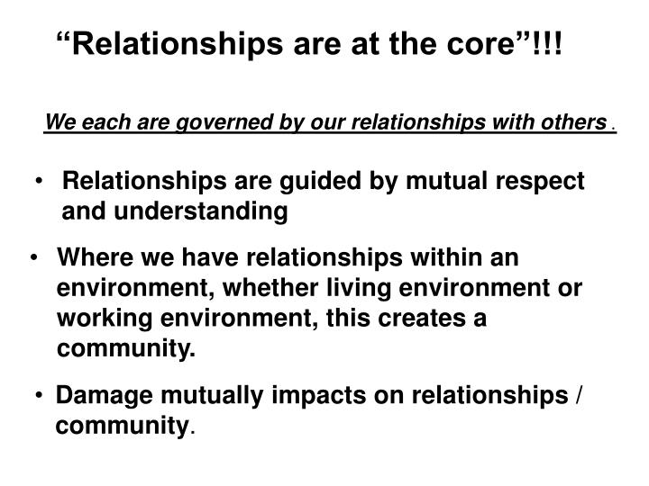 We each are governed by our relationships with others