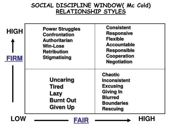SOCIAL DISCIPLINE WINDOW( Mc Cold)